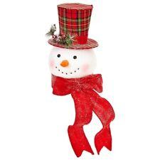 "RAZ Imports 15"" Red Plaid Snowman Head Tree Topper Top Hat Plaid Christmas"