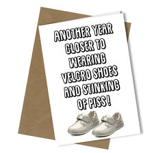 #234 Greetings Card Velcro Shoes Comedy Rude Funny Humour Birthday Fathers Day