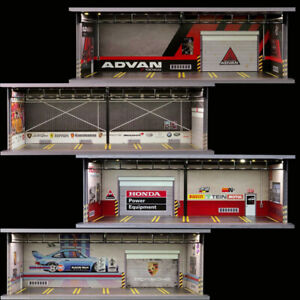 Diorama 1/64 Model Car Garage LED Lighting USB Connector Packing Lot Display
