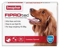 Beaphar FIPROTEC Flea Spot On Treatment For Medium Dogs 1,3 & 6 Pipettes