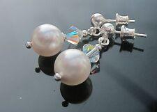 Creamrose lt Perla E Cristallo 925 Argento Orecchini realizzati con elementi swarovski