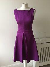 Reiss Purple Mauve Cotton Blend Box Pleat Skater Dress Size 10 Knee Length
