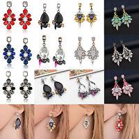 1Pair Women Multicolor Rhinestone Crystal Resin Ear Stud Eardrop Dangle Earring