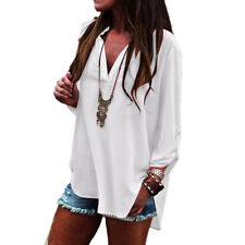 Oversized Womens Shirt Chiffon Long Sleeve Shirt V-Neck Loose Casual Tops Blouse