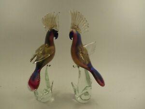 "Pair Formia Murano Glass 14"" Cockatoo Bird Figures Gold Flake Cobalt Pink"