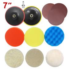 "12pc 7"" Drill Adapter polishing plate sanding Buffing Woolen Sponge pad"
