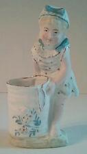 Girl Blue Bows Sun Dress Basket Bisque Victorian Figurine Toothpick Holder