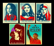 "SHEPARD FAIREY ""WE THE PEOPLE"" 24X36 ART PRINT 5 POSTER SET YERENA SABOGAL RARE!"