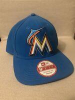 New Era Miami Marlins MLB Hat 9Fifty SnapBack Adjustable Adult Blue *EX COND*