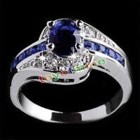 Mujeres oro blanco lleno de zafiro azul anillo de compromiso anillos de joyería