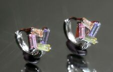 Pretty Rectangle Created Stone(Pink Sapphire, Amethyst, Citrine) 1.2cm Hoops