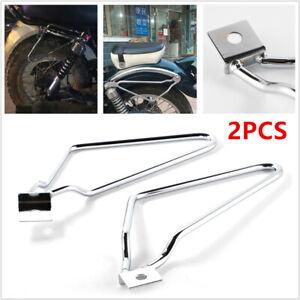 2PCS Motorycle Bikes Bracket Rack Saddle Pannier Bag Spacer Support Bars Silver