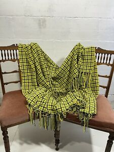 Vintage Wool Tartan Blanket 132cm x 169cm Handmade?