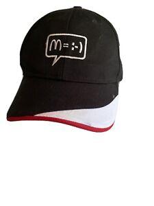 M=:-) McDonald's Employee Hat Cap Smile Happy Face Black Hipster