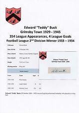 Teddy Buck Grimsby Town 1929-1945 RARA Originale Firmato a Mano Taglio/Card