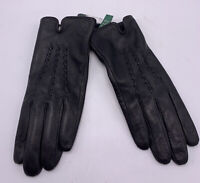 NWT Lauren  Ralph Lauren black leather   gloves  size med   1Ak