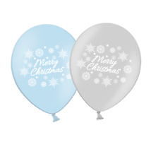 """Christmas Snowflakes 12"""" Light Blue & Silver Asst Latex Balloons  Pack of 8"""