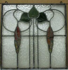 """OLD ENGLISH LEADED STAINED GLASS WINDOW Unframed w Hooks Leaves 16.75"""" x 17"""""""