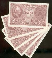 Banconota da 5 lire Luogotenenza 1944 FDS da mazzetta