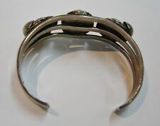 OLD PAWN Southwest Route 66 Sterling Silver Turquoise W/ LEAVES Bracelet N207-J