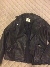 Girls Faux Leather Biker Jacket Age 12-13