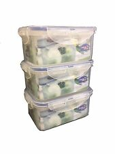 LOCK & LOCK Airtight Plastic Containers 600ml Pack of 3 HPL811