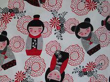 JAPANESE SAKURA DOLL DOLLS RED FLORAL WHITE COTTON FABRIC BTHY
