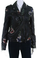Blank NYC Womens Faux Leather Floral Studded Moto Jacket Black Size Medium
