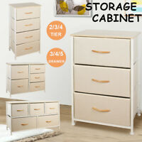 3/4/5 Drawer Fabric Dresser Storage Tower Closet Organizer Unit Bedroom Home NEW