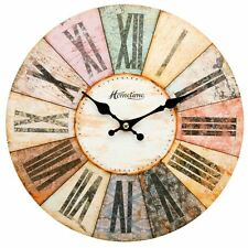 Hometime Multi-Coloured Weathered Vintage Retro Shabby Chic 30cm Wall Clock