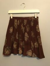 Vintage Maroon Floral Pleated Mini Skirt Size 8