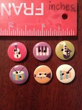 6 Wooden Musical Instrument Buttons In Assorted Styles