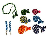 Dog Colourful Fleece Lead Agility Flyball Plaited Tug Play Leash Fun Puppy
