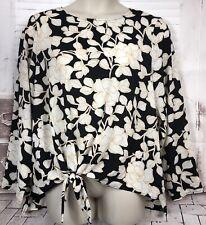AVA & VIV Womens Black Beige Floral LS Tunic Crepe Top Blouse Plus Sz. 1X NWT's