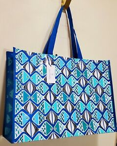New VERA Bradley in GO FISH BLUE MARKET XL Tote RECYCLABLE shopping, Gift bag