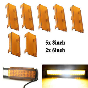"52inch Amber Lens Cover 5x 8'' + 2x 6"" for Straight Curved LED Light Bar Offroad"