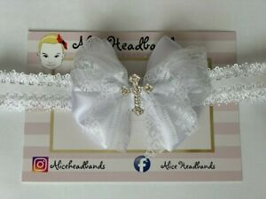 Baby Girl White or Ivory Christening Headband Baptism Wedding Bow Cross Hairband