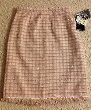NwT, Bob Mackie Studio Womens Lined Skirt with Fringe, Size 6, Pink,Cream,Beige