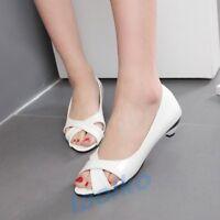 Fashion Women's Open Toe Low Heel Slip On Sandal Casual OL Work Shoes Plus Size