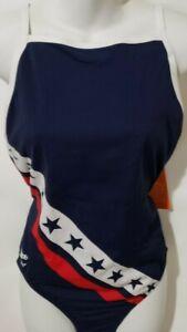 Speedo Women's Endurance+ Thin Strap Crossback One Piece Swimsuit USA Flag 14/40