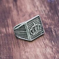 Crown Signet Ring Silver Carved Cross Vintage for Men Cool Fashion Gift Jewelry