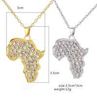Afrika Anhänger gedrehte Halskette Gold afrikanischer Kontinent