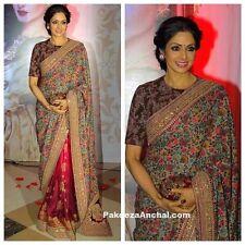 Indian Designer Bollywood Partywear Sridevi Brown & red Floral Saree, Sari