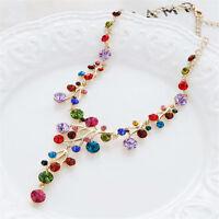 Fashion Crystal Women Bib Collar Choker Chunky Chain Pendant Statement Necklace
