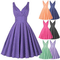 Vintage Women Polka Dot 40s 50s Retro Deep V Neck Summer Swing Pinup Party Dress