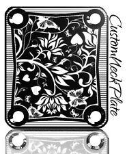 Black Floral Engraved Guitar Neck Plate fits Fender pbass,Telecaster, Strat