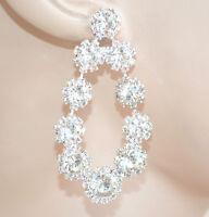 ORECCHINI ARGENTO donna pendenti sposa cristalli strass eleganti cerimonia E200