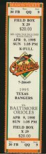 4/9/1995 Texas Rangers vs Baltimore Orioles Full Ticket Camden Yards