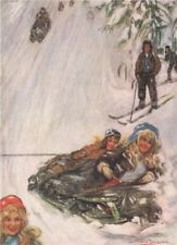 HOLMENKOLLEN. Girls on sledge by Nico Jungman. Norway 1905 old antique print