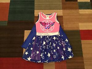 Wonder Woman Tutu Dress Girls Size XS 4/5 Pink Blue Sequins With Cape DC Comics